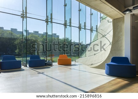 WARSAW, POLAND - SEPTEMBER 06, 2014: Modern hall in Museum of History of Polish Jews in Warsaw. Museum was built in years 2009-2013 and documents the millennial tradition of Jews in Poland. - stock photo