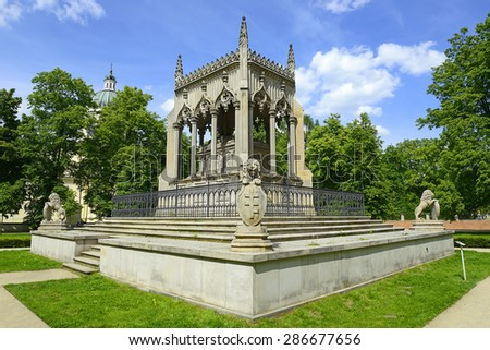 Warsaw, Potocki family mausoleum in Wilanow, a symbolic tombstone built between 1834-1836 - stock photo