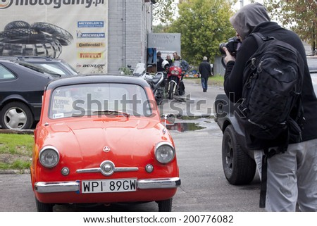 WARSAW - September 28: Old car on Oldtimers meeting.September 28, 2013 in Warsaw, Poland. - stock photo