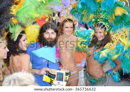 WARSAW - SEPTEMBER 5, 2009: Samba dancers appearing in the Carnival Parade - Bom Dia Brasil. - stock photo