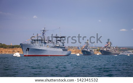Warships are located in the of the wake of the ranks for the parade