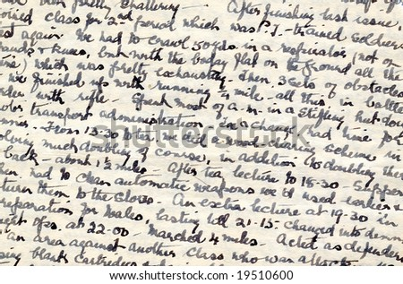Wartime diary handwriting - stock photo