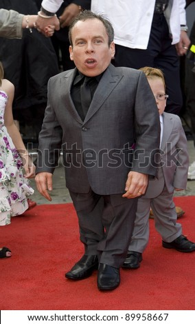 """Warwick Davis arriving for premiere of the final Harry Potter film """"Harry Potter and the Deathly Hallows Part 2,  Trafalgar Square, in London. 07/07/2011 Picture by: Simon Burchell / Featureflash - stock photo"""
