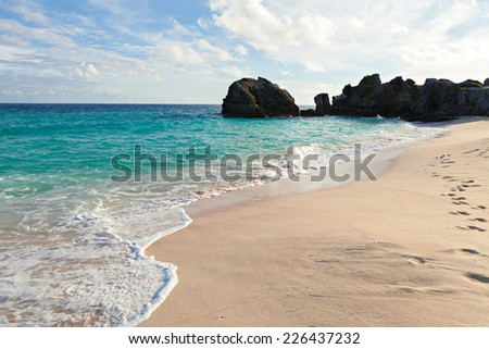 Warwick Long Bay Beach and rock formations located on the island of Bermuda near Jobsons Cove. - stock photo