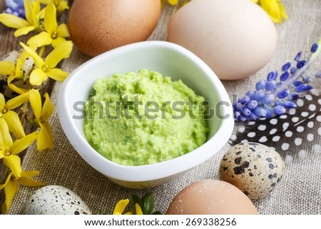 Wasabi mustard sauce in a white bowl - stock photo