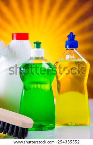Wash and cleaning on bright background