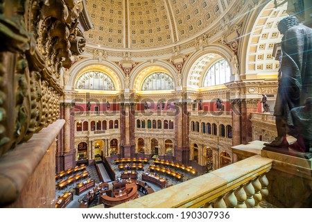 WASH DC-APRIL10: Interior of the Library of Congress in DC on April 10, 2014. It moved to Washington in 1800, after sitting for eleven years in the temporary national capitals of New York and Philadelphia. - stock photo