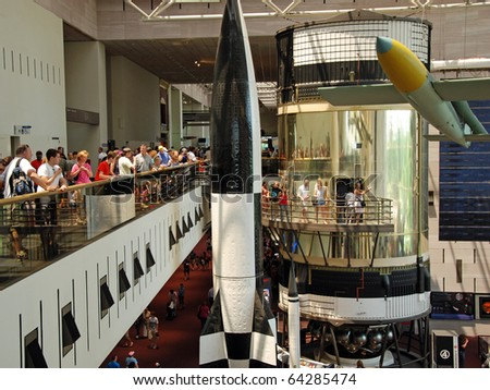 WASH DC - CIRCA JUNE 09: National Air and Space museum circa June 2009 in Washington DC, USA. It was established in 1946 and holds the largest collection of historic aircraft and spacecraft in world. - stock photo
