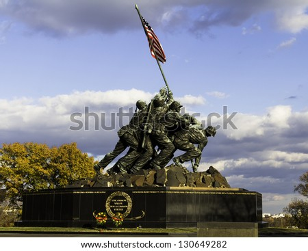 WASH DC - CIRCA NOV 2011: Iwo Jima Memorial  NOV 2011, USA. Memorial dedicated to all personnel of United States Marine Corps who have died in defense of their country since 1775. - stock photo