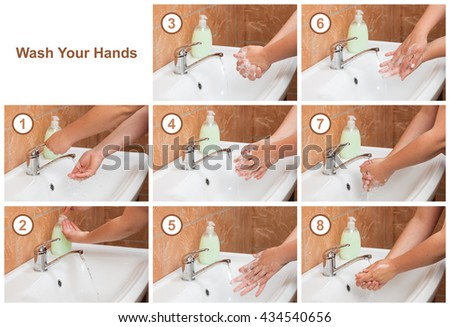 Wash Your Hands steps. Cleaning Hands. Hygiene - stock photo