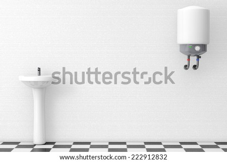 Washbasin with Water Heater in front of a white wall - stock photo
