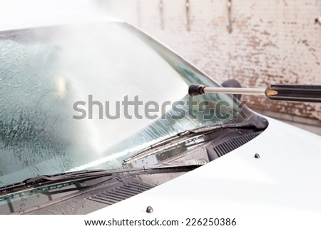 Washing car - stock photo
