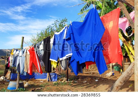 Washing day - colorful clothes on a line