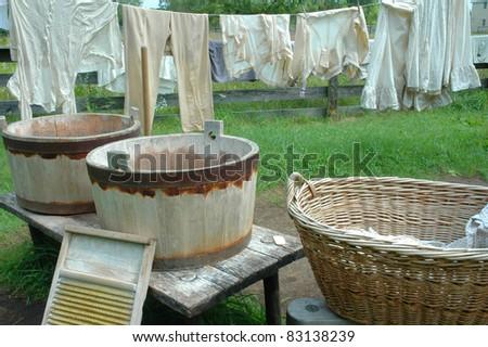 Washing Day Outside - stock photo