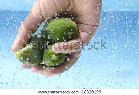 washing fruits and vegetables in fresh water - stock photo