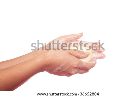Washing hand with soap, part of the steps to prevent spread of influenza