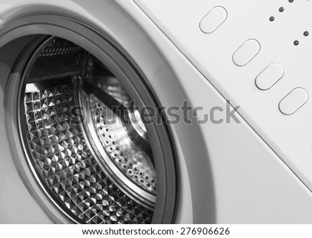 Washing machine, close-up - stock photo
