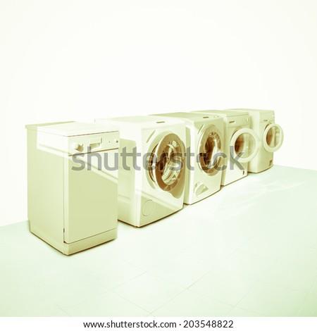 WASHING MACHINE HOUSEHOLD APPLIANCES - stock photo