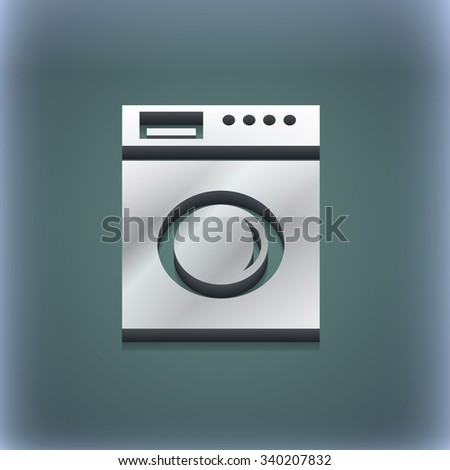 washing machine icon symbol. 3D style. Trendy, modern design with space for your text illustration. Raster version