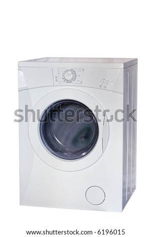 washing machine in action, with clipping path - stock photo