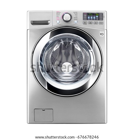 Washing Machine Isolated on a White Background. Front View of Stainless Steel Steam Washer. Front Load Washing Machine with Electronic Control Panel. Clipping Path