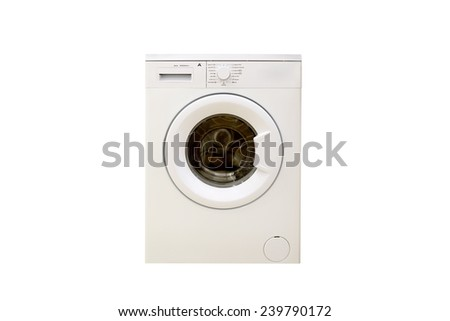 washing machine isolation on a white background - stock photo