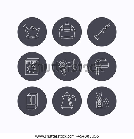 Washing machine, teapot and blender icons. Refrigerator fridge, juicer and steam ironing linear signs. Hair dryer, juicer icons. Flat icons in circle buttons on white background.