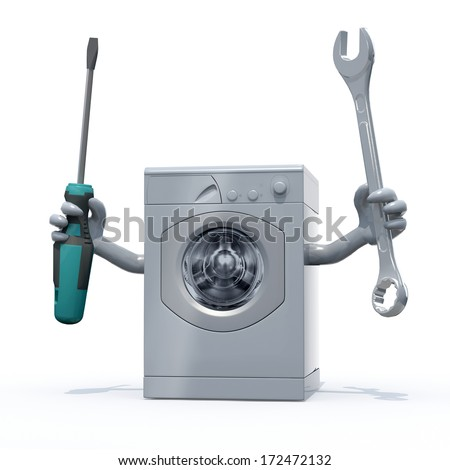 washing machine with arms and tools on hands, 3d illustration - stock photo