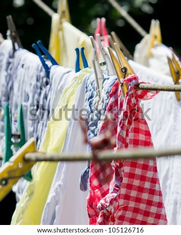 washing on the line with colorful pegs