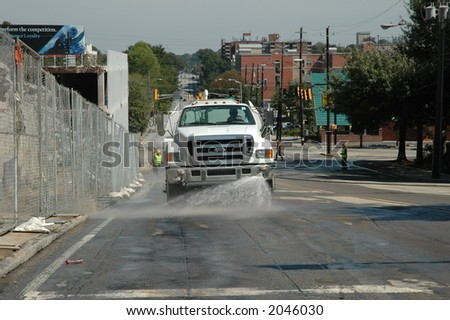 washing peachtree street - stock photo