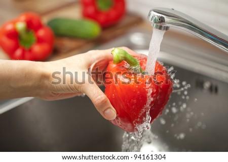 washing vegetable - stock photo