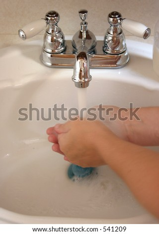 Washing Your Hands Well - stock photo