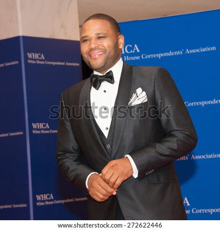 WASHINGTON APRIL 25 â?? Actor Anthony Anderson arrives at the White House Correspondentsâ?? Association Dinner April 25, 2015 in Washington, DC - stock photo