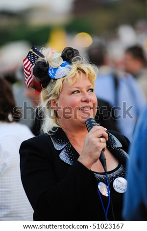 WASHINGTON -- APRIL 15: Former SNL cast member Victoria Jackson at the tax day tea party rally at the Washington Monument on April 15, 2010 in Washington, D.C. - stock photo