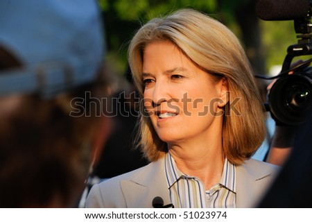 WASHINGTON - APRIL 15: Fox News anchor Greta Van Susteren at the tax day tea party rally at the Washington monument on April 15, 2010 in Washington, D.C. - stock photo