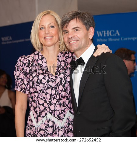 WASHINGTON APRIL 25 â?? George Stephanopoulos and wife Alexandra Wentworth arrive at the White House Correspondentsâ?? Association Dinner April 25, 2015 in Washington, DC  - stock photo