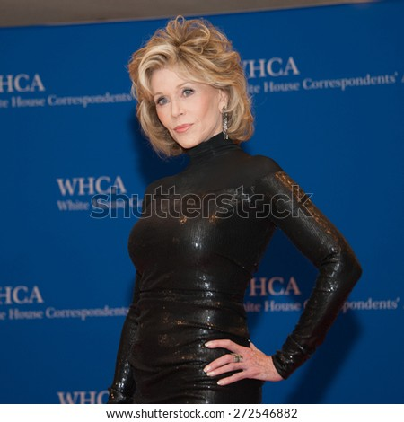 WASHINGTON APRIL 25 â?? Jane Fonda arrives at the White House Correspondentsâ?? Association Dinner April 25, 2015 in Washington, DC - stock photo