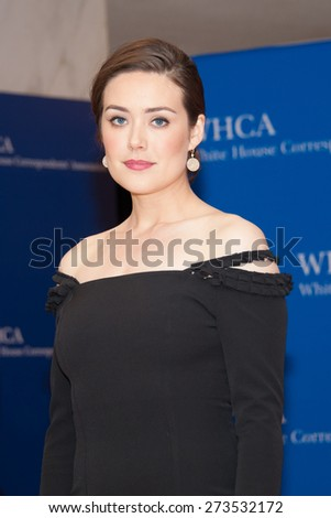 WASHINGTON APRIL 25  Megan Boone arrives at the White House Correspondents  Association Dinner April 25, 2015 in Washington, DC - stock photo
