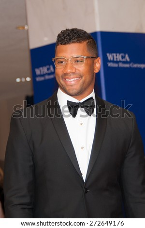 WASHINGTON APRIL 25 â?? Quarterback Russell Wilson arrives at the White House Correspondentsâ?? Association Dinner April 25, 2015 in Washington, DC  - stock photo