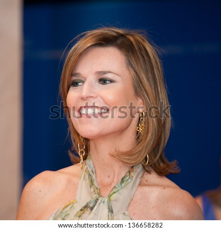 WASHINGTON - April 27: Savannah Guthrie arrives at the White House Correspondents Dinner on April 27, 2013 in Washington, DC - stock photo