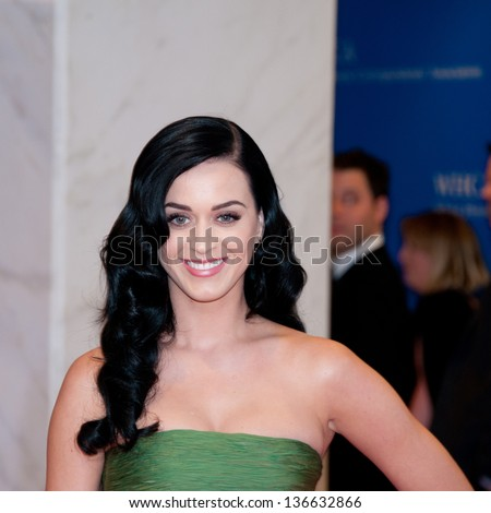 WASHINGTON - April 27:  Singer Katy Perry arrives at the White House Correspondents Dinner April 27, 2013 in Washington, DC - stock photo