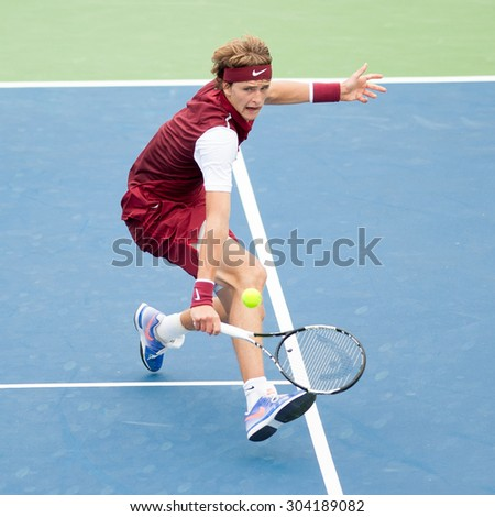 WASHINGTON - AUGUST 7: Alexander Zverev (GER) falls to Marin Cilic (CRO, not pictured) at the Citi Open tennis tournament on August 7, 2015 in Washington DC