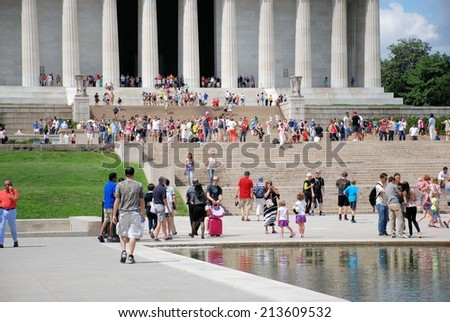 WASHINGTON - AUGUST 24, 2014: Image of the Lincoln Memorial at the National Mall, a memorial built in honor of the 16th President of the United States.  - stock photo