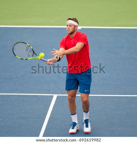 WASHINGTON – AUGUST  3: Jack Sock (USA) defeats fellow American Jared Donaldson (not pictured) at the Citi Open tennis tournament on August 3, 2017 in Washington DC