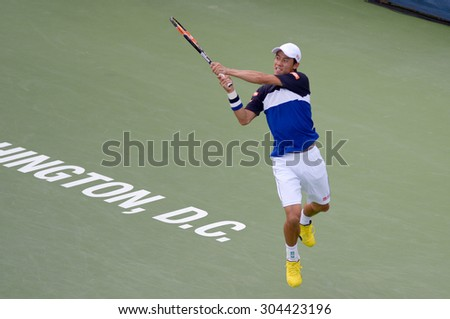 WASHINGTON AUGUST 8: Kei Nishikori (JPN) defeats Marin Cilic (CRO, not pictured) in the semifinal round of the Citi Open tennis tournament on August 8, 2015 in Washington DC - stock photo
