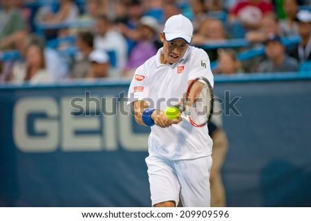 WASHINGTON - AUGUST 1: Kei Nishikori (JPN) falls to Richard Gasquet  (FRA, not pictured) at the Citi Open tennis tournament on August 1, 2014 in Washington DC - stock photo