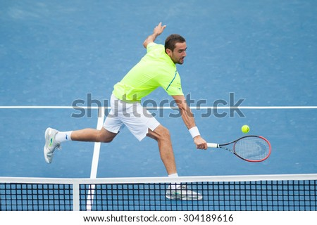 WASHINGTON - AUGUST 7: Marin Cilic (CRO) defeats Alexander Zverev (GER, not pictured) at the Citi Open tennis tournament on August 7, 2015 in Washington DC