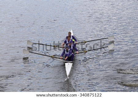 Washington BOSTON - OCTOBER 18, 2015: races in the Head of Charles Regatta Mens's Championship Fours [PUBLIC RACE]