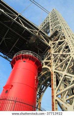 Washington Bridge - lighthouse - stock photo