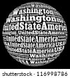 Washington capital city of United State of America info-text graphics and arrangement concept on black background (word cloud) - stock photo